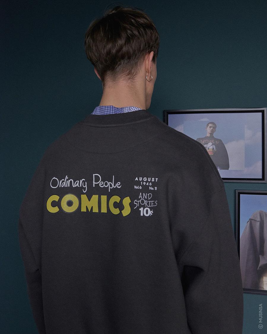 오디너리피플(ORDINARY PEOPLE) [DISNEYxOP] donald duck charcoal sweat shirt